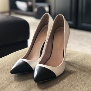 Shoes - White and Black Heels size 9